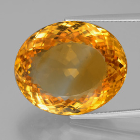 29.91 ct Oval Portuguese-Cut Yellow Golden Citrine Gemstone 21.99 mm x 18.3 mm (Product ID: 397559)