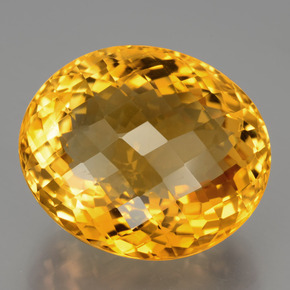 30.29 ct Oval Checkerboard Yellow Golden Citrine Gemstone 22.10 mm x 18.9 mm (Product ID: 397567)