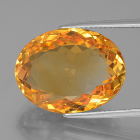 18.18 ct Oval Facet Yellow Golden Citrine Gemstone 19.33 mm x 14.8 mm (Product ID: 397686)