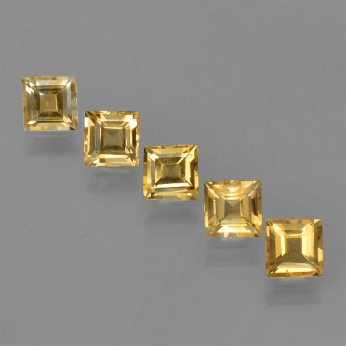 Yellow Golden Citrine Gem - 1ct Square Facet (ID: 423324)