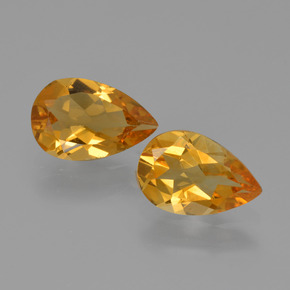Yellow Golden Citrine Gem - 1ct Pear Facet (ID: 427080)