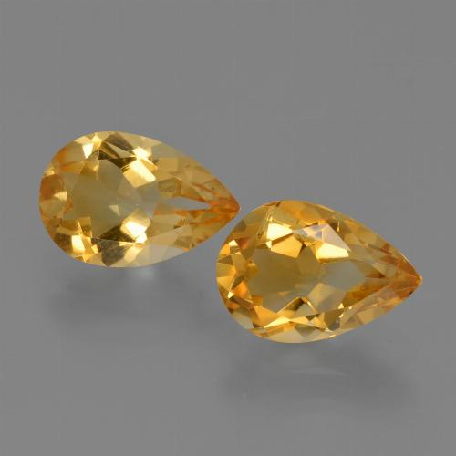 Yellow Golden Citrine Gem - 1.2ct Pear Facet (ID: 427086)