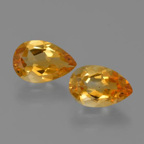 Yellow Golden Citrine Gem - 1.2ct Pear Facet (ID: 427090)