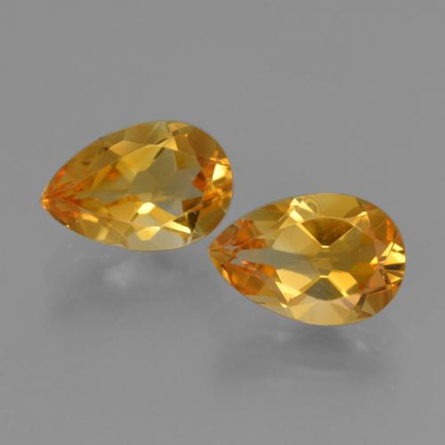 Yellow Golden Citrine Gem - 1.2ct Pear Facet (ID: 427128)