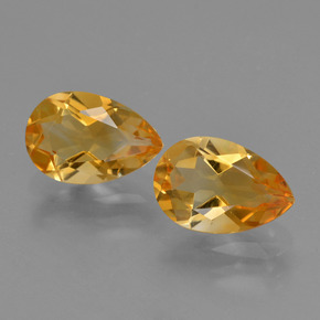 Yellow Golden Citrine Gem - 1.2ct Pear Facet (ID: 427136)
