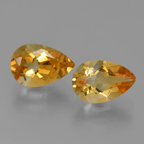 Yellow Golden Citrine Gem - 1.2ct Pear Facet (ID: 427280)