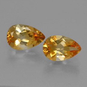 Yellow Golden Citrine Gem - 1.1ct Pear Facet (ID: 427283)