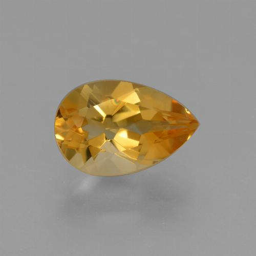 Deep Orange-Gold Citrina Gema - 1.3ct Corte en forma de pera (ID: 427324)