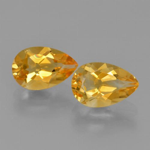 Yellow Golden Citrine Gem - 1.2ct Pear Facet (ID: 427441)