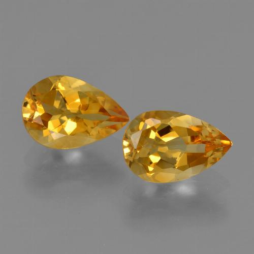 Yellow Golden Citrine Gem - 1.1ct Pear Facet (ID: 427443)