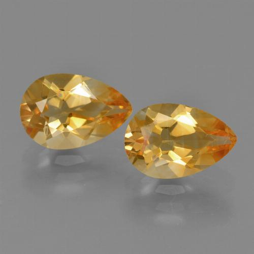 Orange Citrine Gem - 1.2ct Pear Facet (ID: 427447)