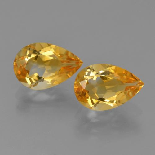 Yellow Golden Citrine Gem - 1.2ct Pear Facet (ID: 427449)