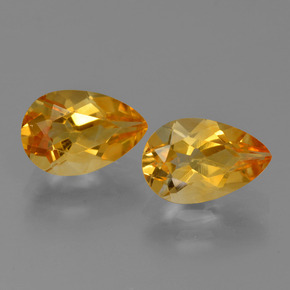 Yellow Golden Citrine Gem - 1.2ct Pear Facet (ID: 427450)