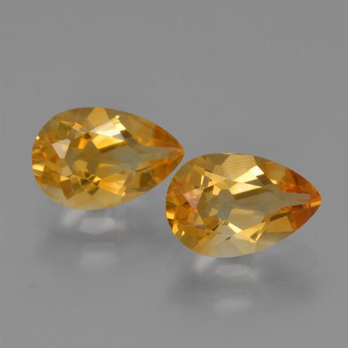 Yellow Golden Citrine Gem - 1.2ct Pear Facet (ID: 427502)