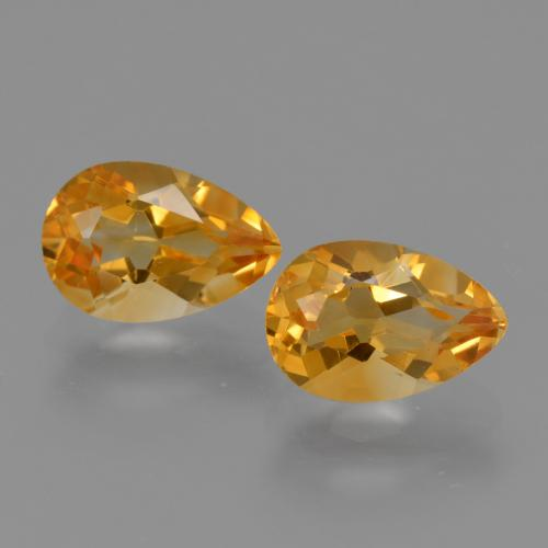 Golden Orange Citrine Gem - 1.2ct Pear Facet (ID: 427503)