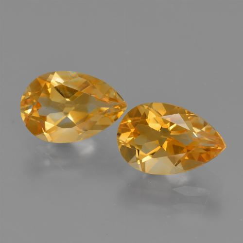Yellow Golden Citrine Gem - 1.2ct Pear Facet (ID: 427507)