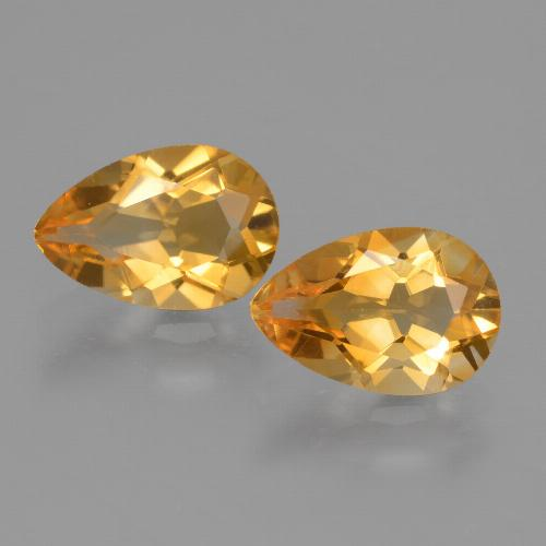 Yellow Golden Citrine Gem - 1.1ct Pear Facet (ID: 427598)