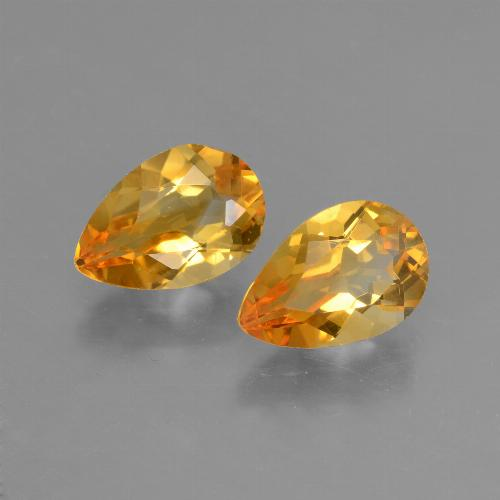 Yellow Golden Citrine Gem - 1.1ct Pear Facet (ID: 427710)
