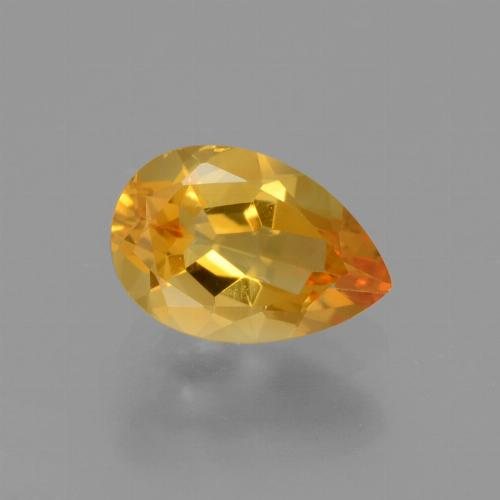 Yellow Golden Citrine Gem - 1.2ct Pear Facet (ID: 427814)