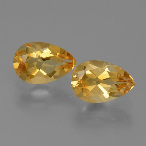 Yellow Golden Citrine Gem - 1.1ct Pear Facet (ID: 427817)