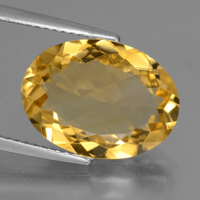 Yellow Golden Citrine Gem - 6.1ct Oval Facet (ID: 428444)