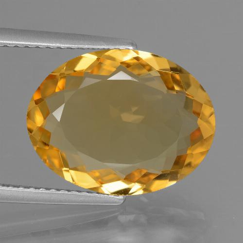 6.05 ct Oval Facet Yellow Golden Citrine Gemstone 15.29 mm x 11.1 mm (Product ID: 428713)