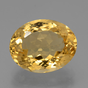 7.80 ct Oval Facet Yellow Golden Citrine Gemstone 14.87 mm x 11.8 mm (Product ID: 428717)