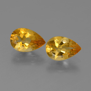 Deep Orange-Gold Citrina Gema - 1ct Corte en forma de pera (ID: 446525)