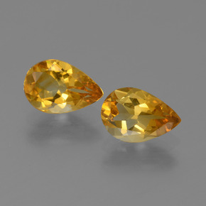 Yellow Golden Citrine Gem - 1ct Pear Facet (ID: 446526)