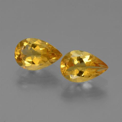 Deep Golden Orange Citrina Gema - 1.1ct Corte en forma de pera (ID: 446528)