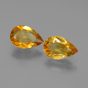Dark Orange-Gold Citrine Gem - 1.1ct Pear Facet (ID: 446531)