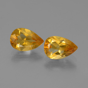Yellow Golden Citrine Gem - 1ct Pear Facet (ID: 446532)