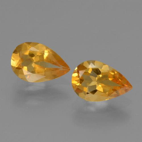 Yellow Golden Citrine Gem - 1ct Pear Facet (ID: 446545)