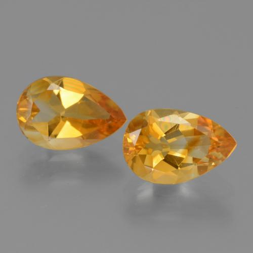 Yellow Golden Citrine Gem - 1.1ct Pear Facet (ID: 446547)