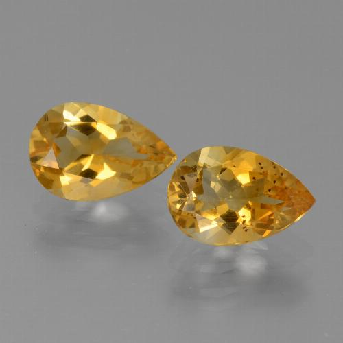 Yellow Golden Citrine Gem - 1.1ct Pear Facet (ID: 446552)