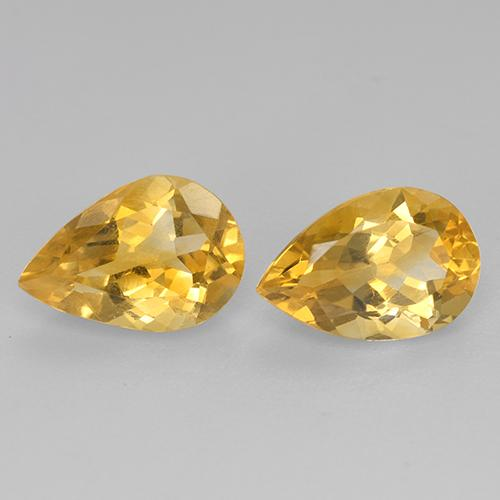 Yellow Golden Citrine Gem - 1.2ct Pear Facet (ID: 446555)