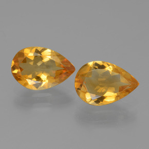 Yellow Golden Citrine Gem - 1ct Pear Facet (ID: 446556)