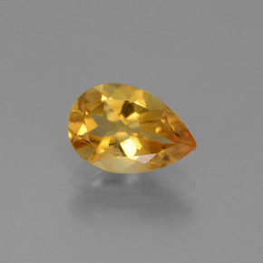 Yellow Golden Citrine Gem - 1.1ct Pear Facet (ID: 446571)