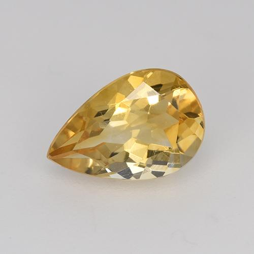 Yellow Golden Citrine Gem - 1.2ct Pear Facet (ID: 446576)