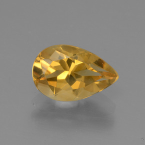 Yellow Golden Citrine Gem - 1.2ct Pear Facet (ID: 446595)
