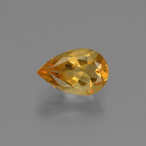 Yellow Golden Citrine Gem - 1.1ct Pear Facet (ID: 446652)