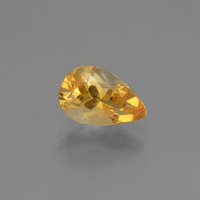 Yellow Golden Citrine Gem - 1.2ct Pear Facet (ID: 446669)