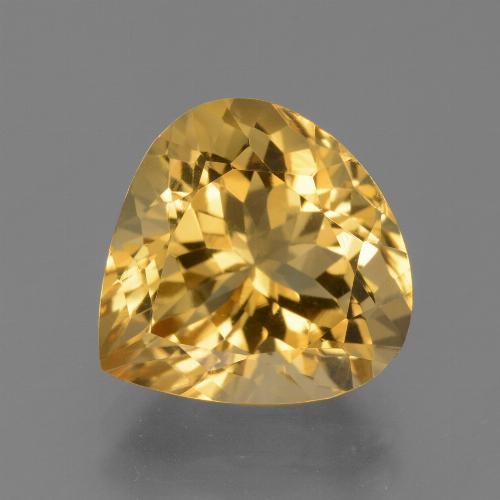 Medium-Dark Golden Citrina Gema - 6.5ct Corte en forma de pera (ID: 450460)