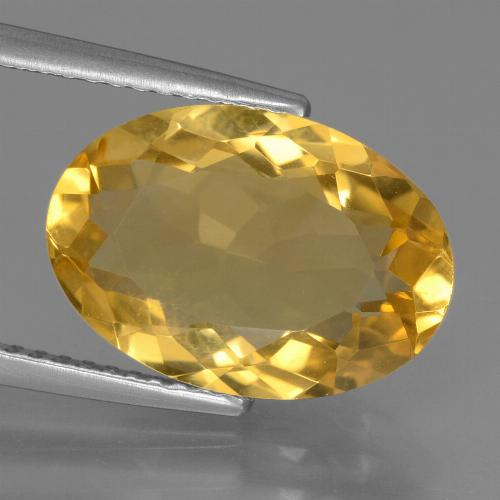 Yellow Golden Citrine Gem - 6ct Oval Facet (ID: 450478)