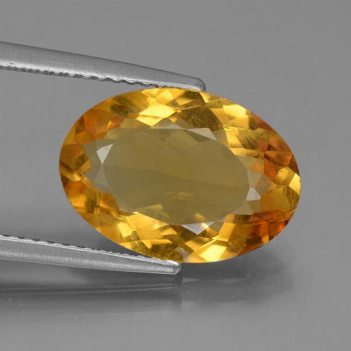 Dark Orange-Gold Citrine Gem - 4.1ct Oval Facet (ID: 450712)