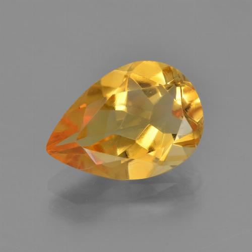 Medium-Light Orange-Gold Citrina Gema - 3.1ct Corte en forma de pera (ID: 453639)