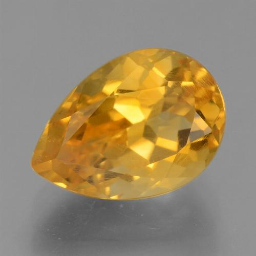 Dark Orange-Gold Citrina Gema - 2.8ct Corte en forma de pera (ID: 456160)