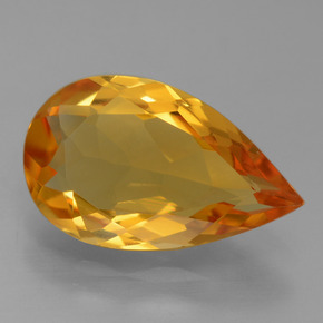 Dark Orange-Gold Citrina Gema - 3ct Corte en forma de pera (ID: 456163)