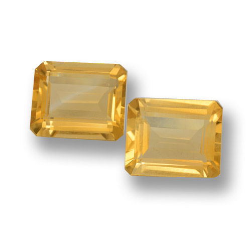 Golden Citrin Edelstein - 3.8ct Octagon Stufenschliff (ID: 460062)