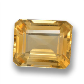 Medium-Light Orange-Gold Citrina Gema - 5.1ct Corte octagonal (ID: 460717)